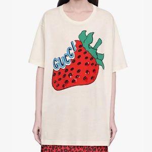 Gucci Oversized Cotton Strawberry Print T-Shirt